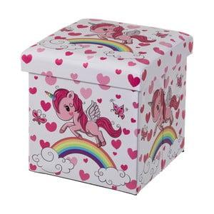 Růžový dětský puf s úložným prostorem Unimasa Unicorn