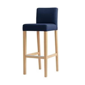 Scaun bar cu picioare de culoare naturală, Custom Form Wilton, albastru