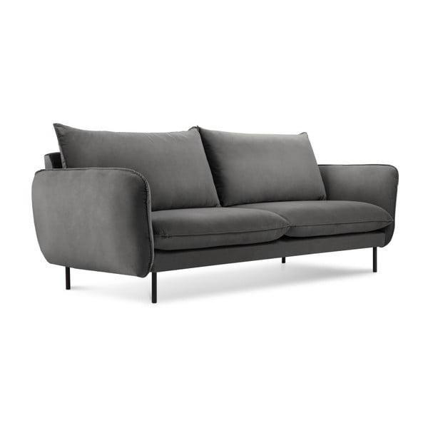 Tmavě šedá sametová pohovka Cosmopolitan Design Vienna, 160 cm