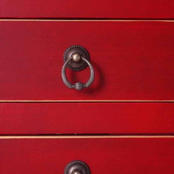 Červený konzolový stolek se 3 zásuvkami Ixia East