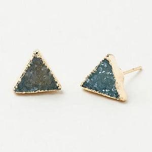 Pozlacené náušnice s modro-zeleným křišťálem Decadorn Triangle