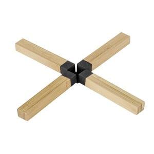 Suport din bambus pentru vase fierbinți Wenko Cross, negru
