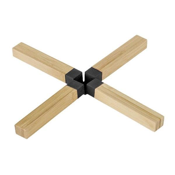 Černá bambusová podložka pod hrnec Wenko Cross