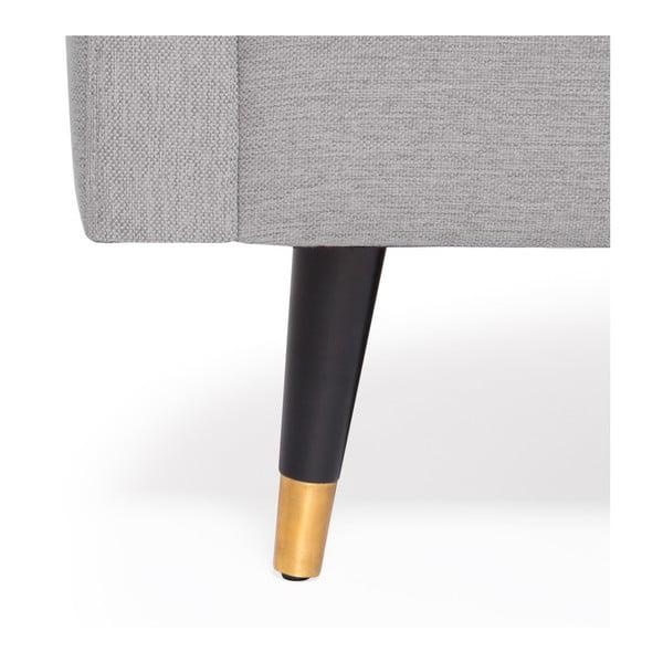 Světle šedá trojmístná pohovka s mosaznými nohami Vivonita Meyer