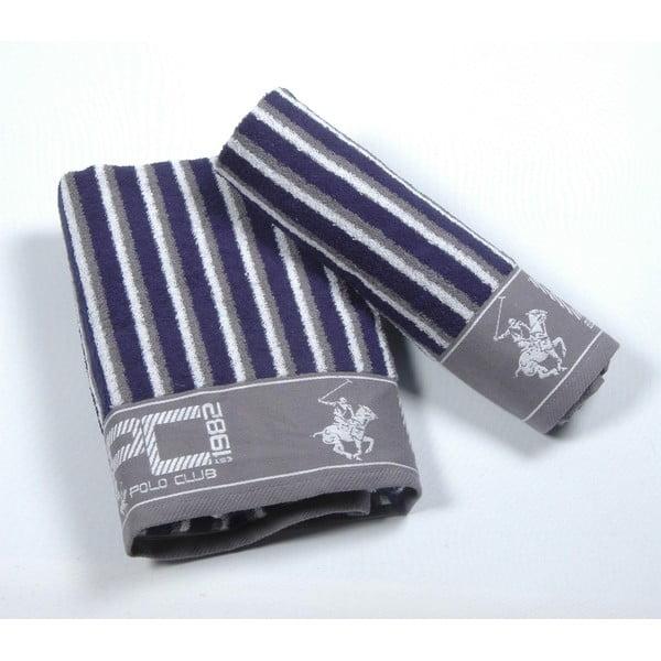Sada 2 ručníků BHPC 50x100 + 80x150 cm, tmavě modrá