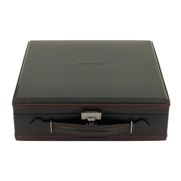 Černo-červený box na 12 hodinek Friedrich Lederwaren Carbon
