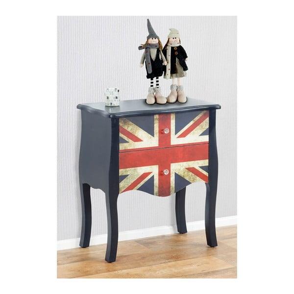 Stolek se zásuvkami Dresser Union Jack, 70x60x36 cm