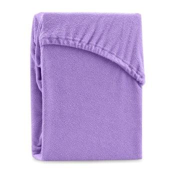 Cearșaf elastic pentru pat dublu AmeliaHome Ruby Purple, 200-220 x 200 cm, violet imagine