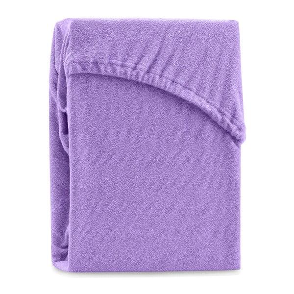 Fialové elastické prostěradlo na dvoulůžko AmeliaHome Ruby Purple, 180-200 x 200 cm