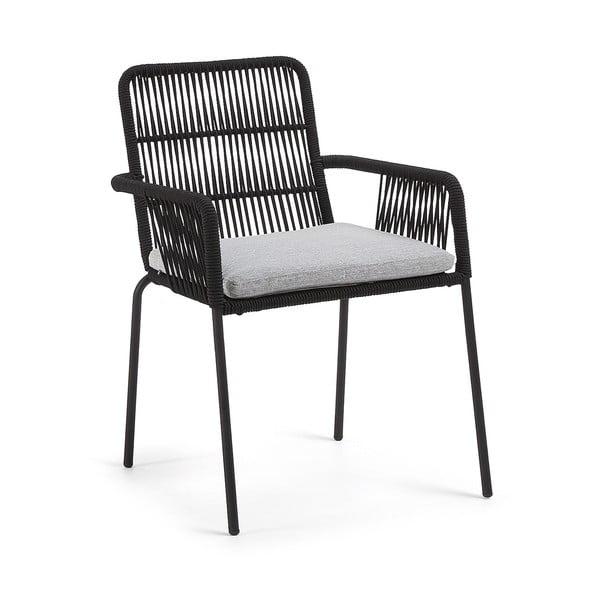 Czarny fotel z metalową konstrukcją La Forma Samt