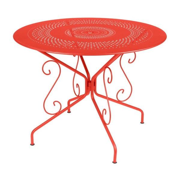 Oranžovočervený kovový stůl Fermob Montmartre, Ø96cm