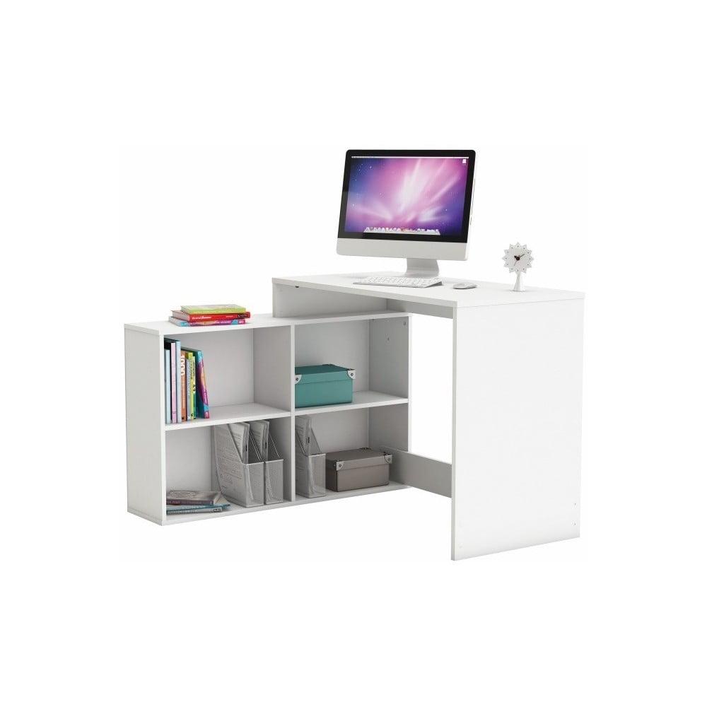 Bílý rohový pracovní stůl Corner