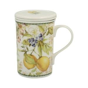 Porcelánový hrnek s filtrem s motivem květin Duo Gift Lemon, 300 ml