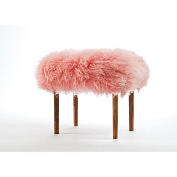 Stolička z ovčí kůže Ceri Baby Pink