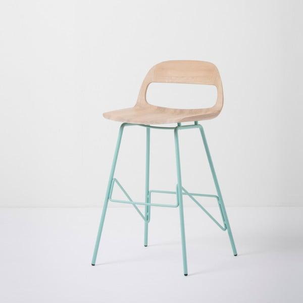 Barová židle se sedákem z masivního dubového dřeva a zelenými nohami Gazzda Leina, výška84cm