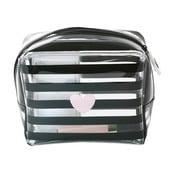 Kosmetická taštička Miss Étoile Heart Rose Stripes, 15,5 x 8 cm