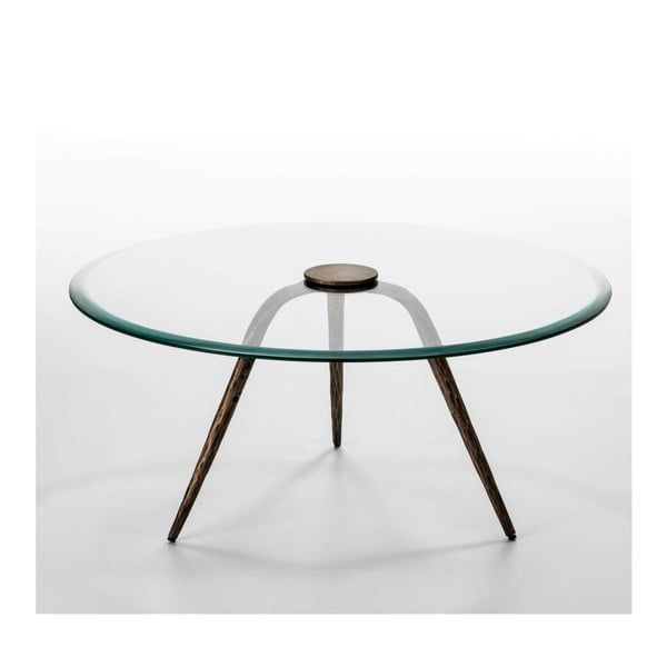Konferenční stolek ze skla a železa Thai Natura Xenia, Ø 91 cm