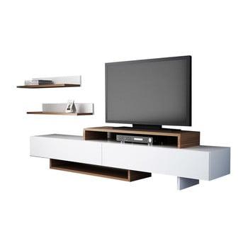 Set comodă TV și raft de perete în decor de lemn de tec Nirvanas, alb de la Furny Home