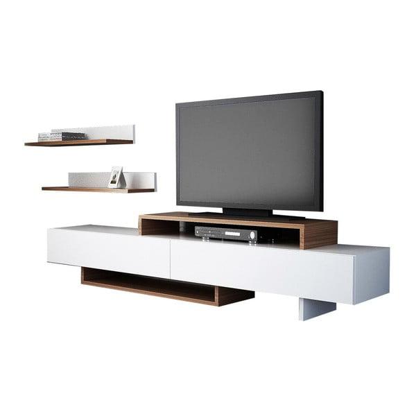 Komplet białej szafki pod TV i półki z dekorem drewna tekowego Nirvanas