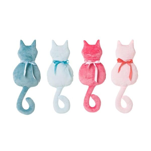 Sada 4 barevných polštářků ve tvaru kočky Unimasa,38x22cm