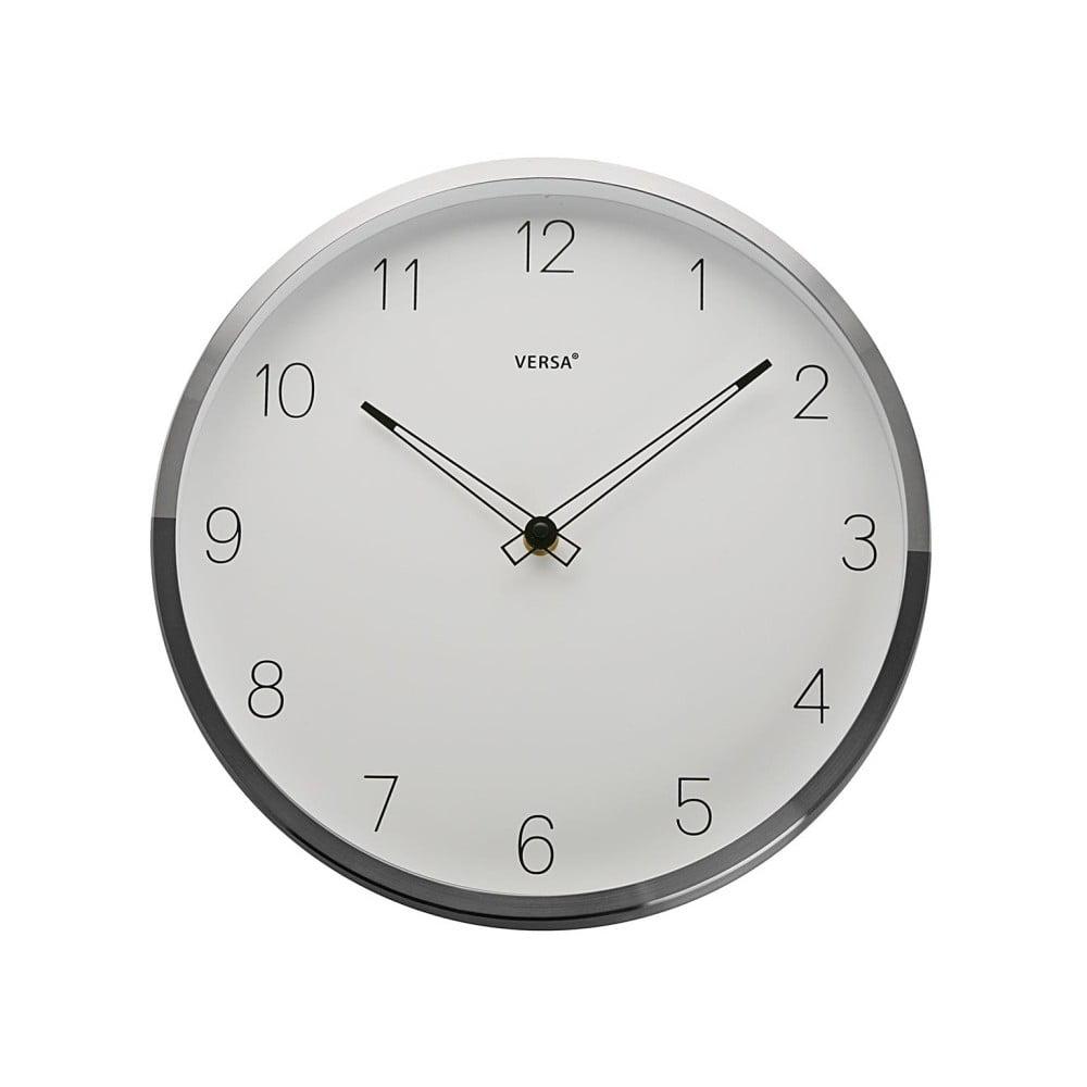 Hodiny s rámem ve stříbrné barvě Versa Halga, ⌀ 30 cm