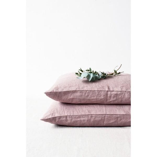 Ciemnoróżowa lniana poszewka na poduszkę Linen Tales, 70x90 cm
