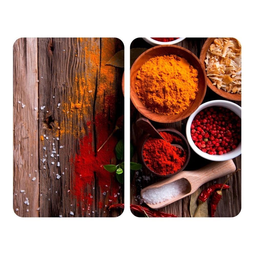 Produktové foto Sada 2 skleněných krytů na sporák Wenko XL Spices, 52x40cm