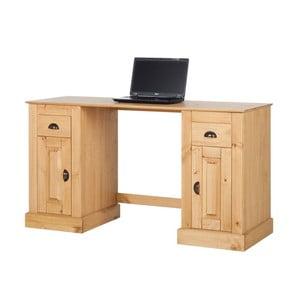 Přírodní pracovní stůl z borovicového dřeva s 2 dvířky Støraa Tommy
