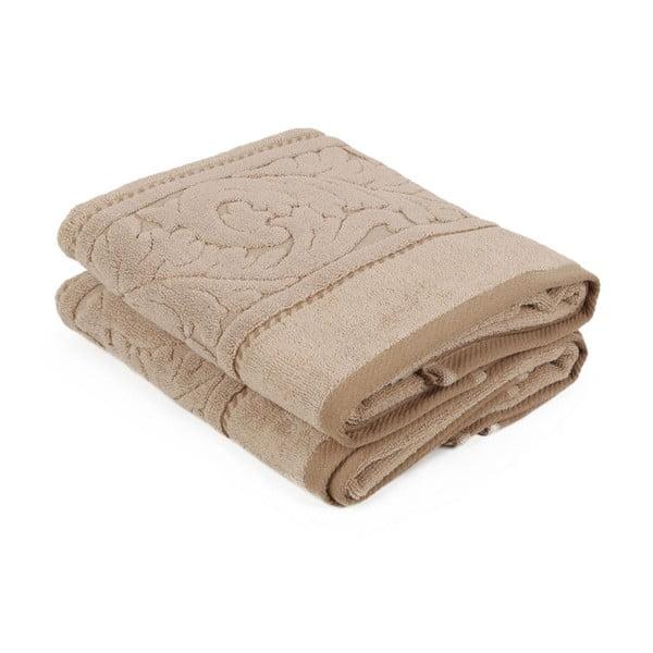 Zestaw 2 brązowych ręczników z bawełny Sultan, 50x90 cm