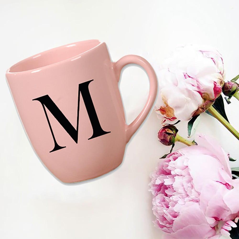 Růžový keramický hrneček Vivas Letter M, 330ml