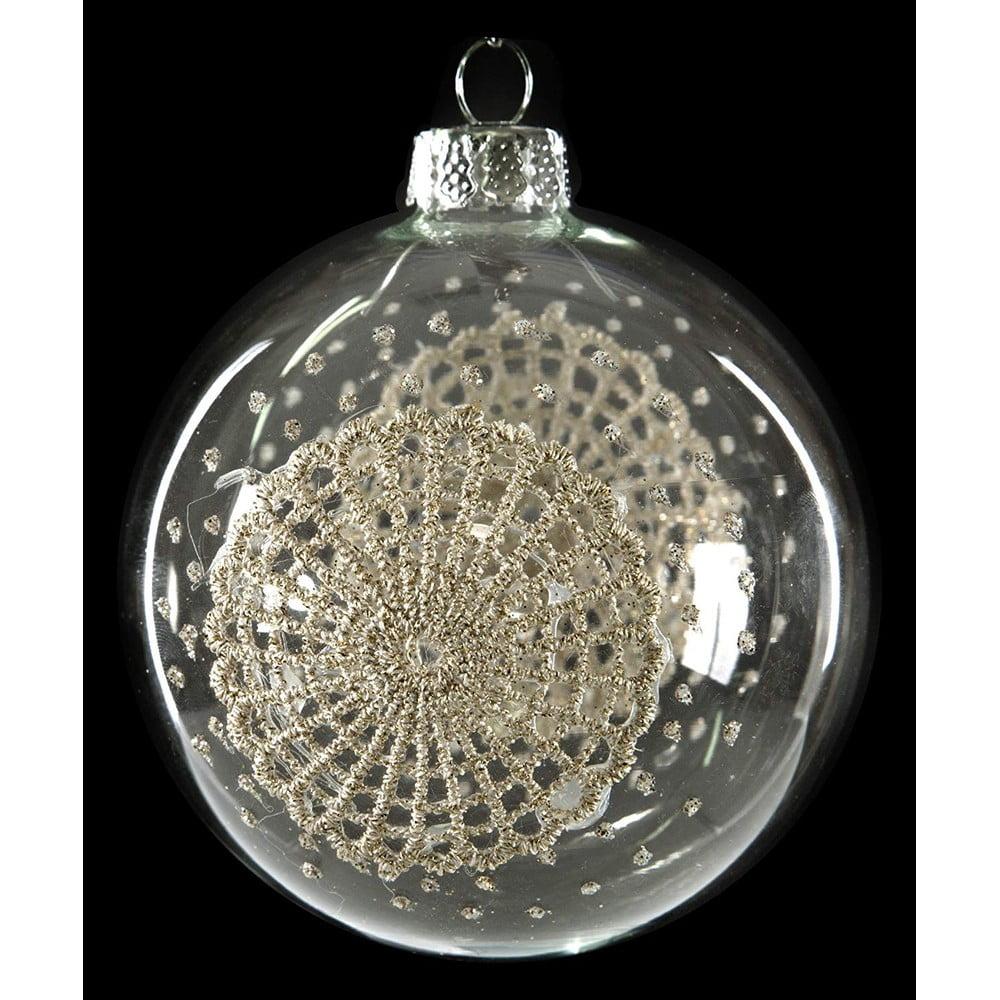 Sada 6 skleněných vánočních ozdob DecoKing Laced