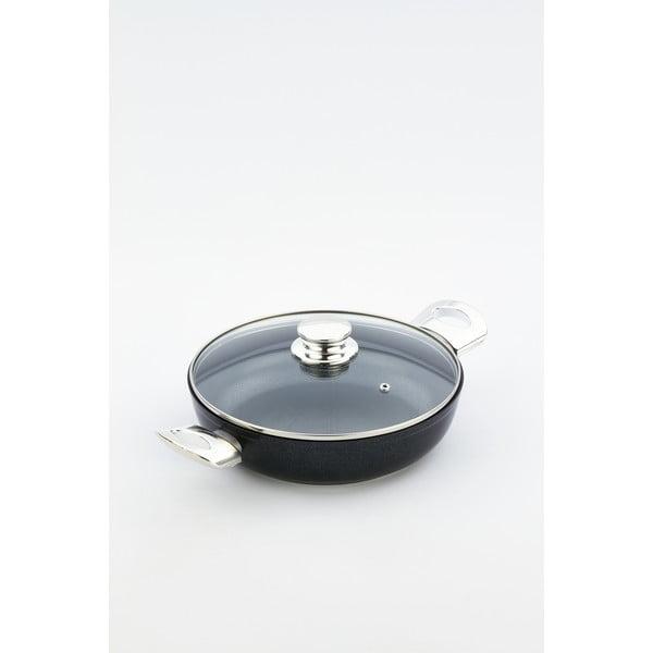 Pánev s pokličkou a úchyty ve stříbrné barvě Bisetti Black Diamond, výška6,3cm