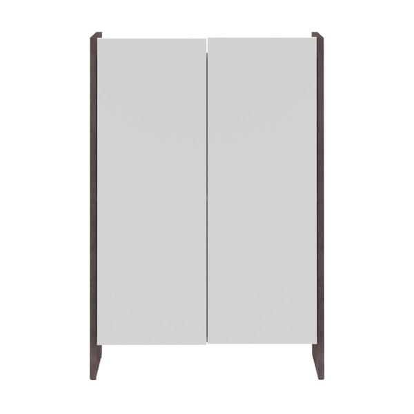 Bílá koupelnová skříňka s šedým korpusem Symbiosis Auben,výška89,5cm