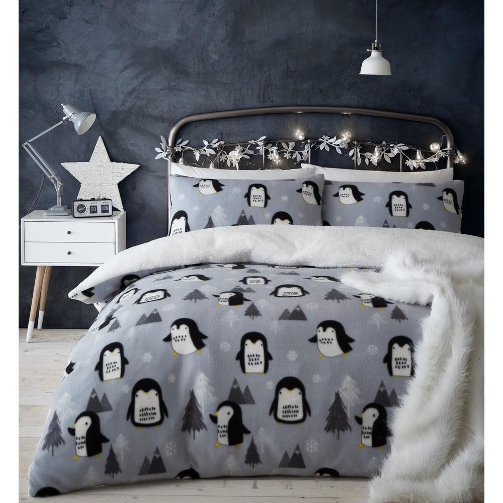 Mikroplyšové povlečení s motivem tučňáka Catherine Lansfield, 135 x 200 cm