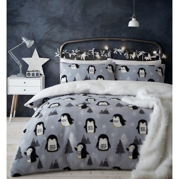 Mikroplyšové povlečení s motivem tučňáka Catherine Lansfield, 200 x 200 cm