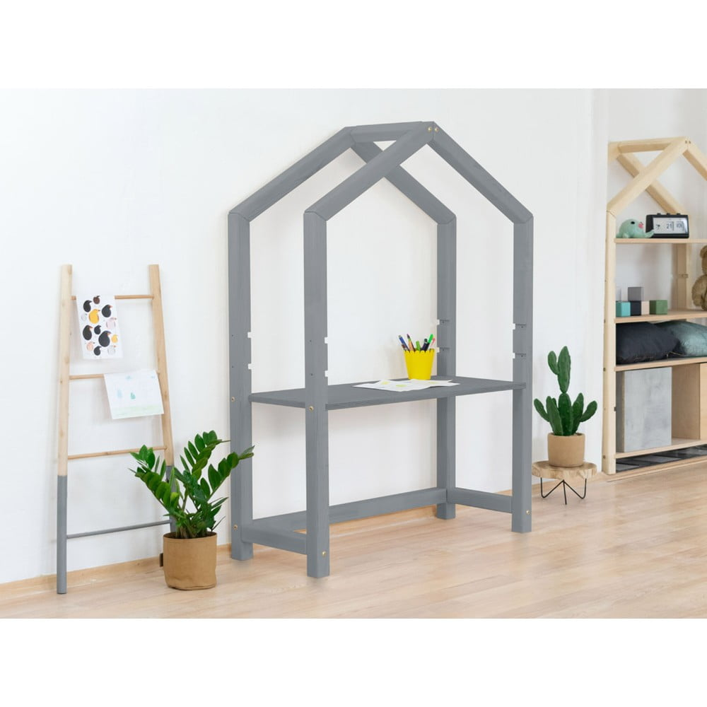 Šedý dřevěný domečkový stůl Benlemi Stolly, 39 x 97 cm