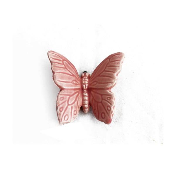 Keramický motýl k zavěšení 6 ks, růžový