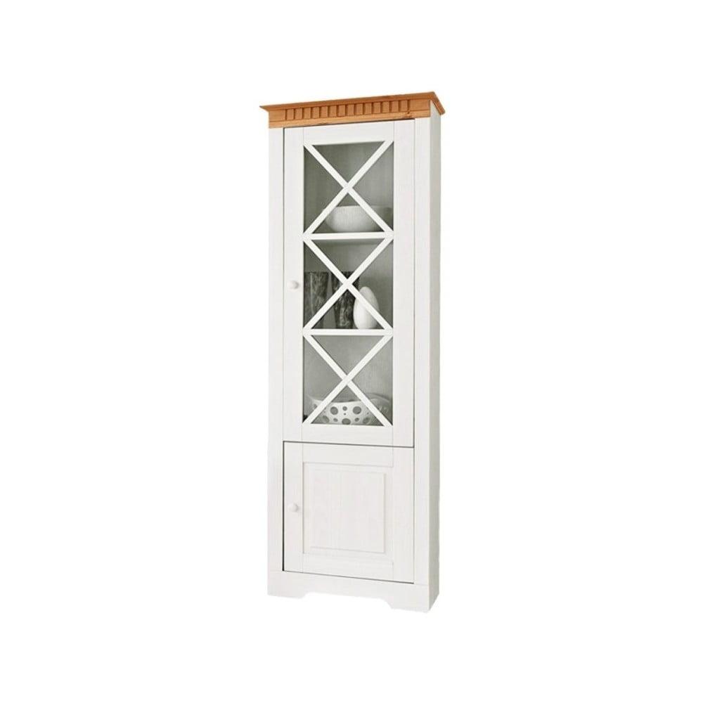Bílá vitrína z masivního borovicového dřeva s hnědými detaily Støraa Linda