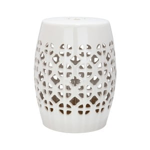 Světle krémový keramický stolek vhodný do exteriéru Safavieh Ravello