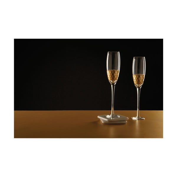 Set 4 pahare pentru șampanie din sticlă suflată manual Premier Housewares Deco, 2,1 dl