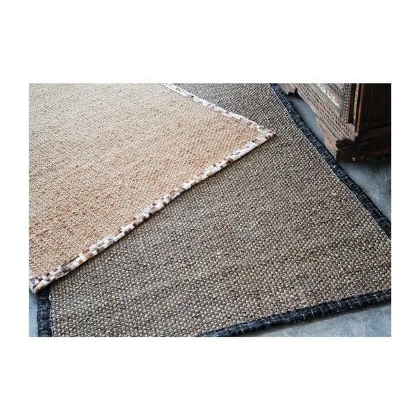 Konopný koberec s koženým lemem Brazilia Dark, 160x230 cm
