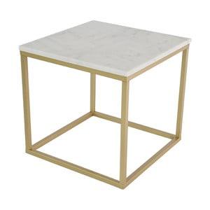 Mramorový konferenční stolek s konstrukcí v barvě mosazi RGE Accent, 55x55cm