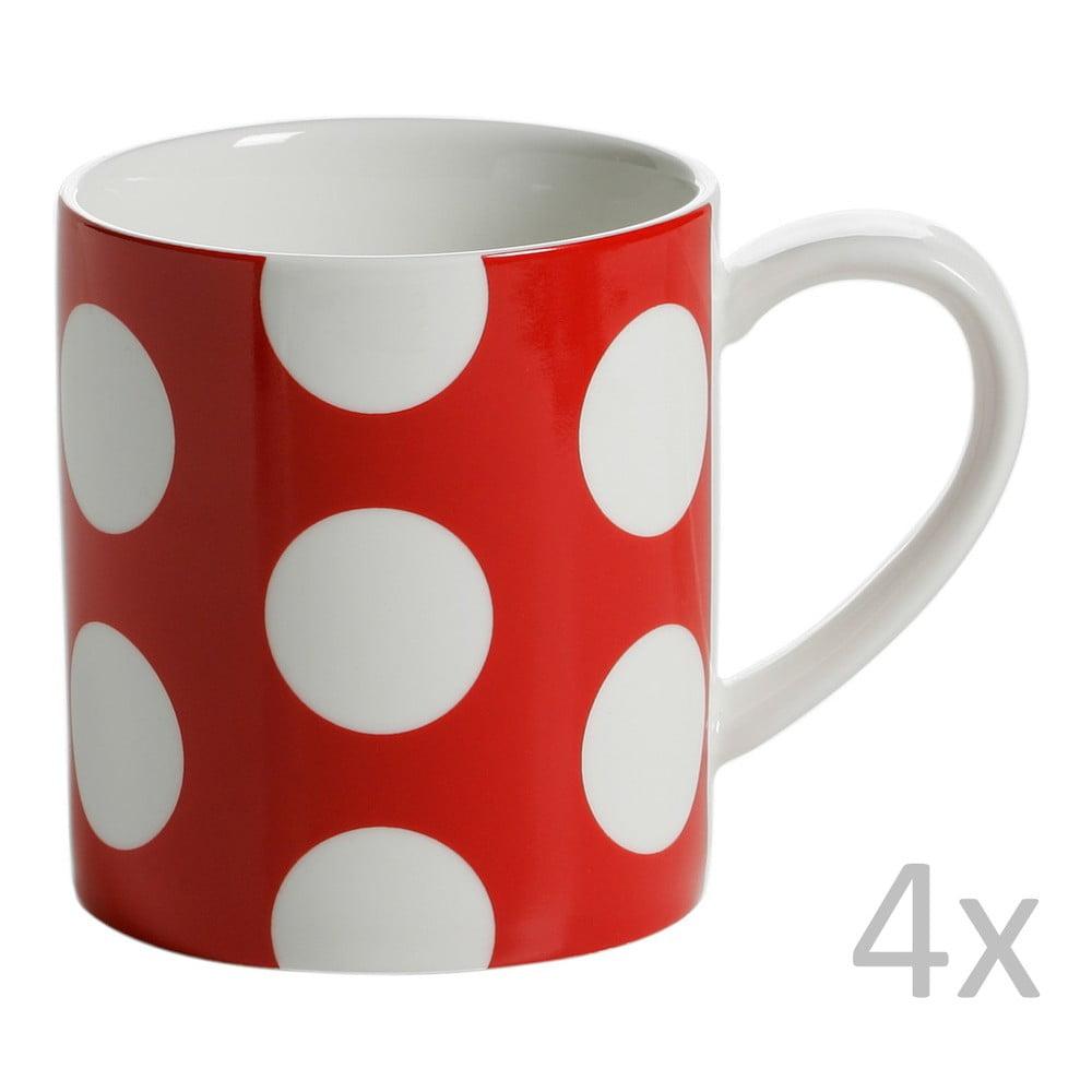 Sada 4 červených porcelánových hrnků Maxwell&Williams Polka Dot, 360ml
