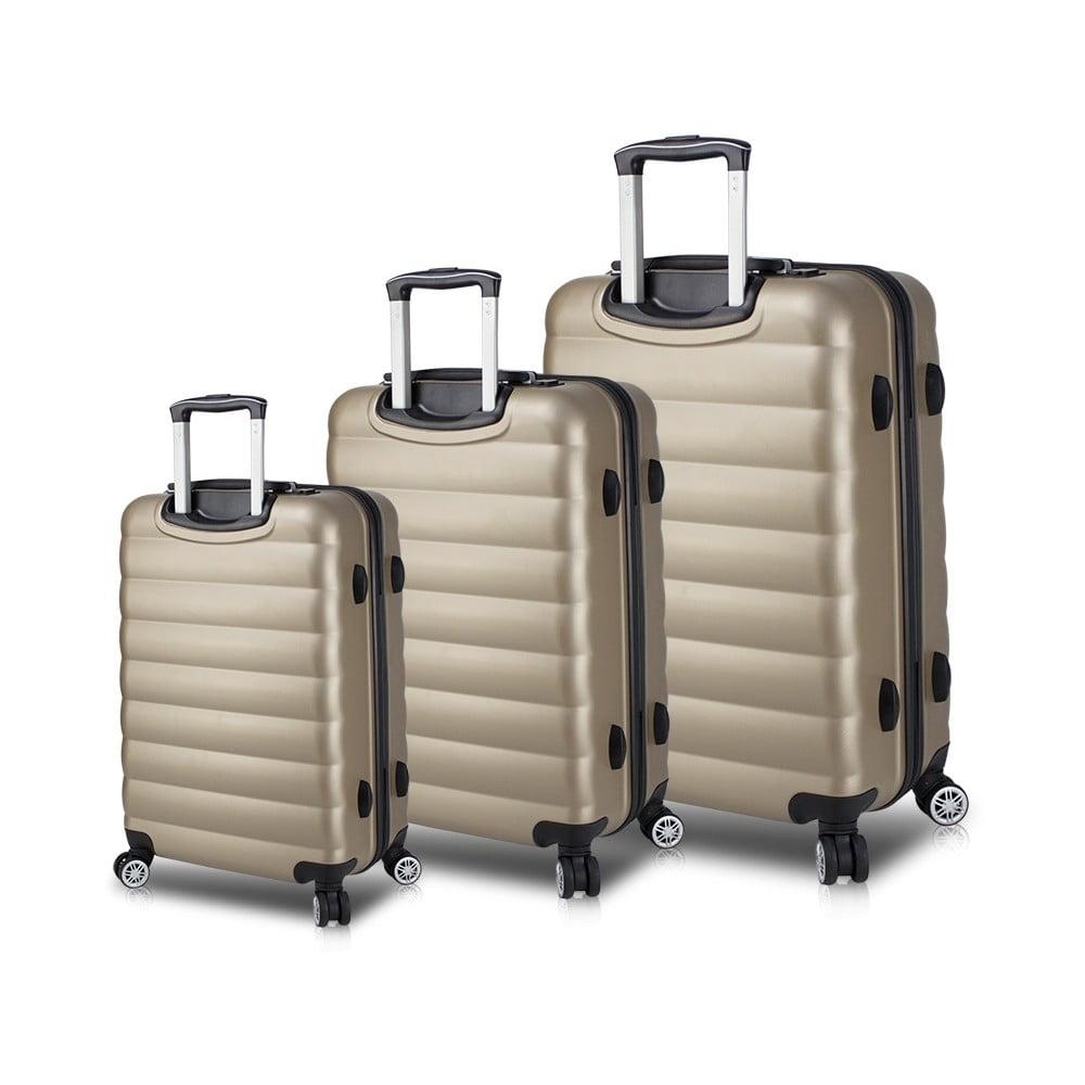 Sada 3 cestovních kufrů na kolečkách s USB porty ve zlaté barvě My Valice RESSO Travel Set