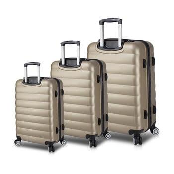 Set 3 valize cu roți și port USB My Valice RESSO Travel Set, auriu de la Myvalice