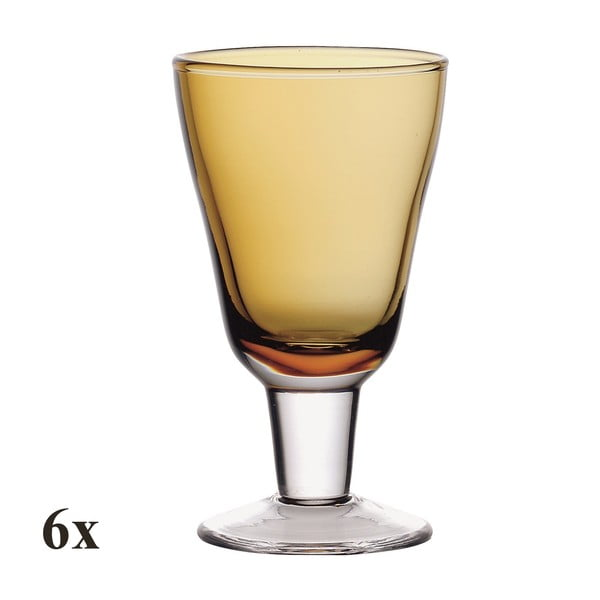 Set šesti sklenic na víno Nadia Amber, 200 ml