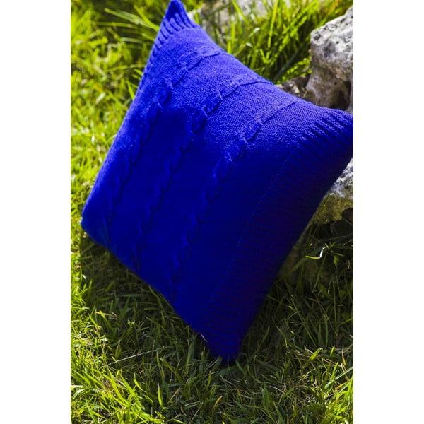 Pletený polštář Kosem 43x43 cm, modrý