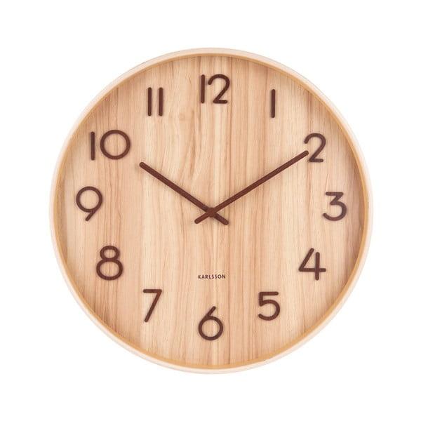 Světle hnědé nástěnné hodiny z lipového dřeva Karlsson Pure Medium, ø 40cm