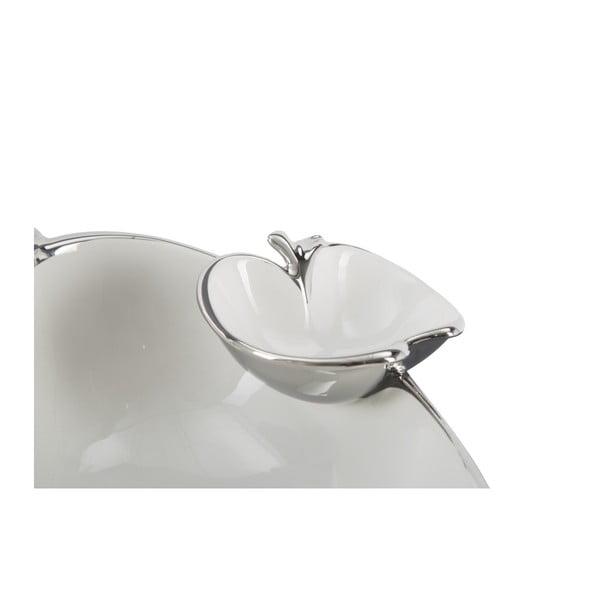 Bílostříbrná dekorativní keramická miska Mauro Ferretti Double Apple