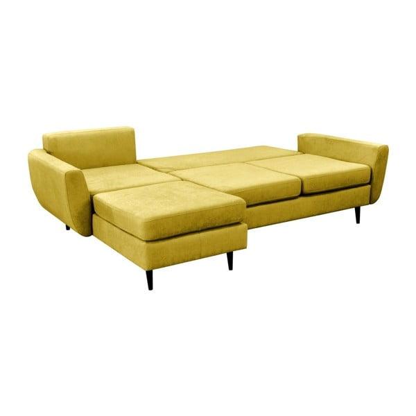 Hořčicově žlutá rozkládací pohovka s černými nohami Mazzini Sofas Hortensia, levý roh
